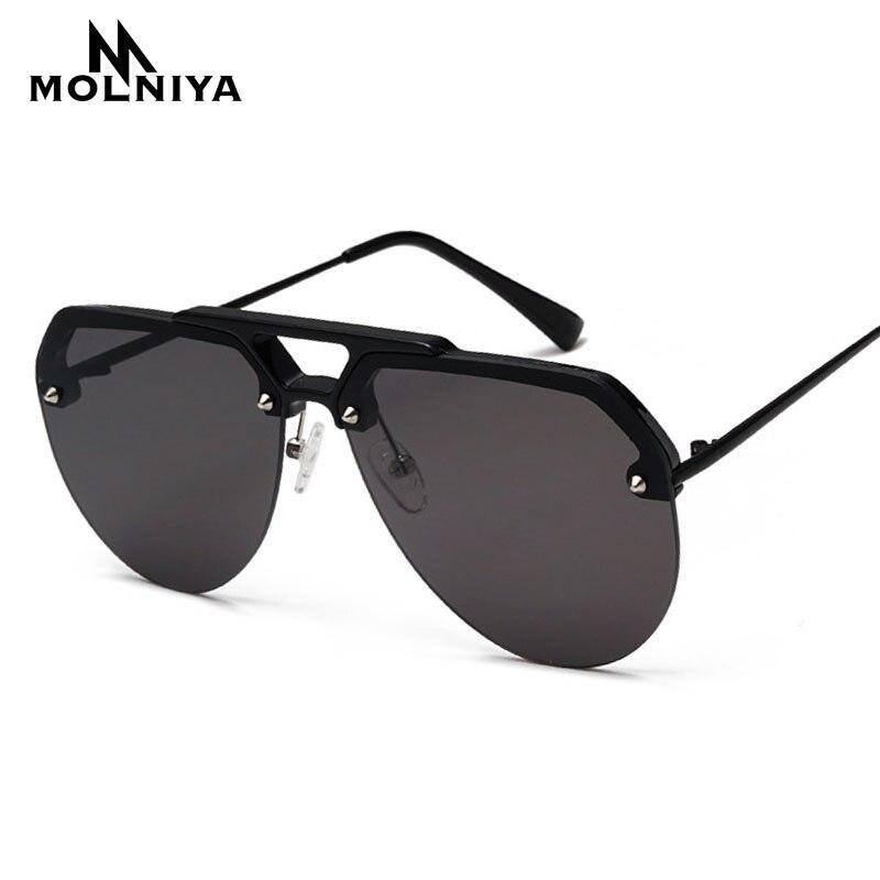 7f728fa15e Nueva moda Semi montura piloto rojo gafas de sol de las mujeres de lujo de  gran tamaño gafas de sol para hombres de doble viga de Vintage gafas de sol  Retro ...