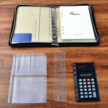 A5 Padfolio with Calculator PU Portfolio Leather Conference Document Holder Zipper Style with Pockets Office Accessories