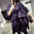 [TWOTWINSTYLE] Весна Слои Оборками Лоскутное Размер Свободный Плюс футболка Dress Женщины Нью-Корейской Моды