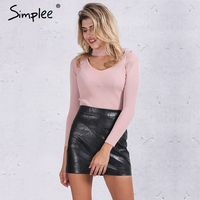 Simplee Elegant Halter Knitted Sweater Autumn Winter White Short Pullover Women Slim V Neck Black Jumper