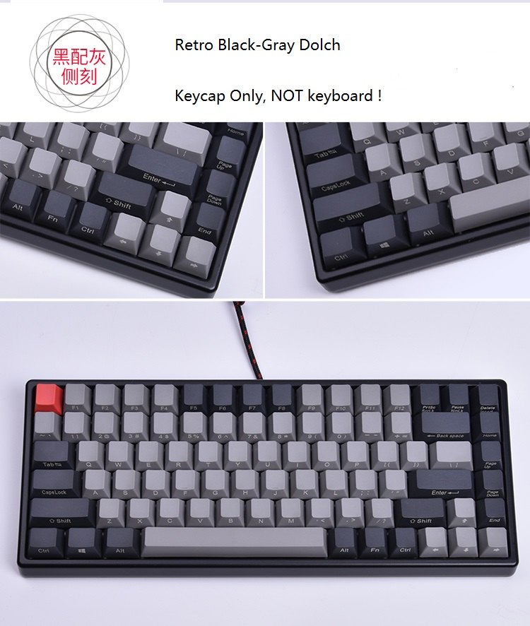<font><b>Keycool</b></font> <font><b>84</b></font> mini mechanical keyboard PBT keycap mini84 compact game keyboard side print <font><b>keycaps</b></font> retro Dolch cherry mx keys image