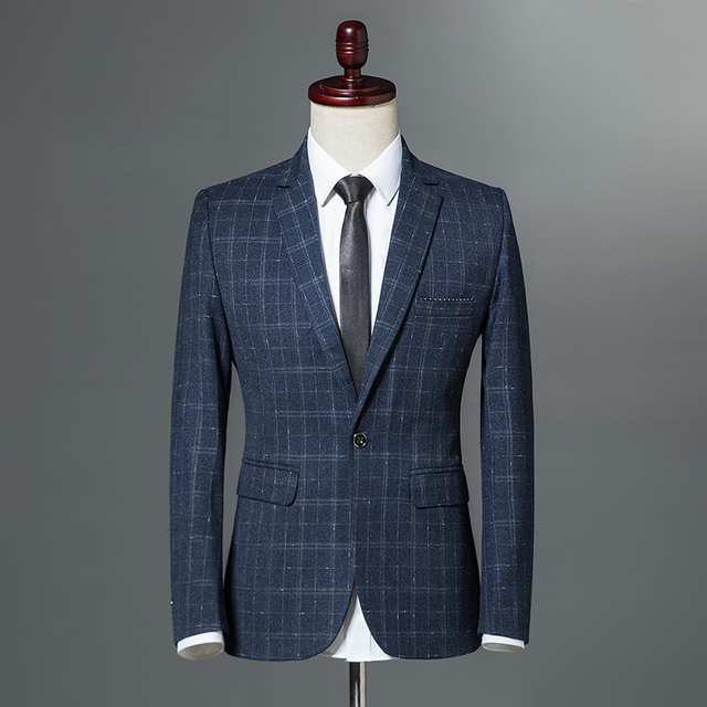 c7750cc6990 2018 Autumn Winter Classic Men Plaid Blazer Single Button Slim Fit Blue  Vintage Business Casual Jacket