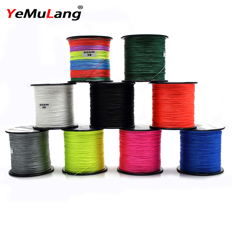 YeMuLang 500M Braided Fishing Lines 8 Threads 100% PE Multifilament Lines For Fishing Accessories linha Para Pesca 18-60LB
