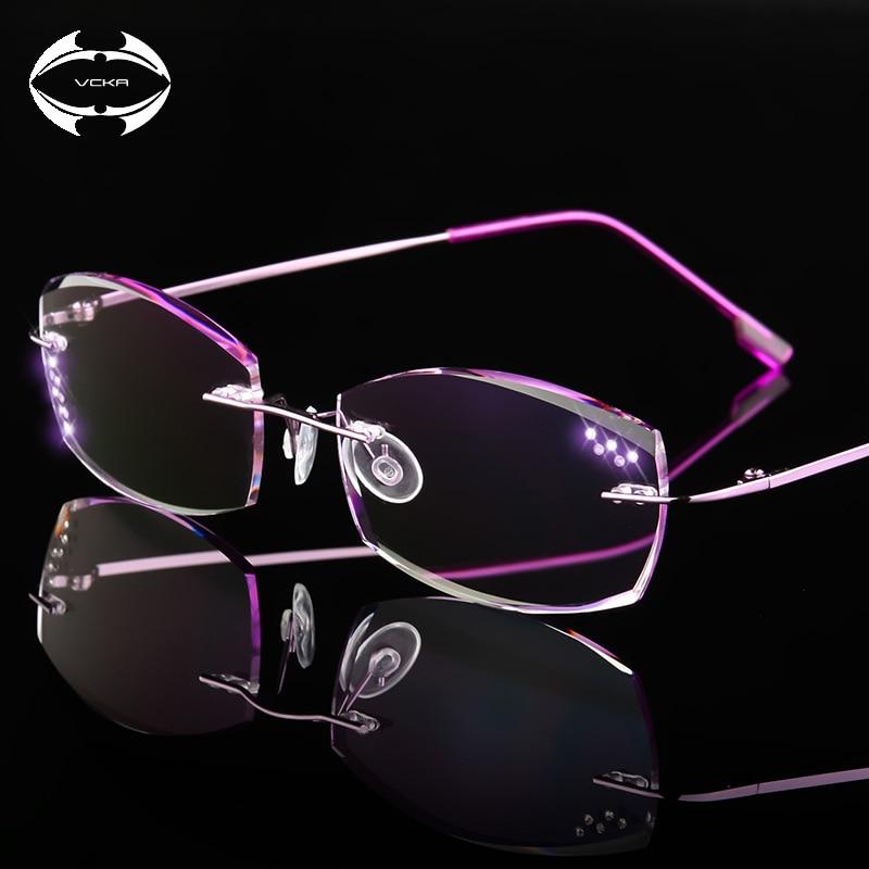 VCKA High Clear Anti Reflective Rhinestone Reading Glasses Women Titanium Eyeglasses Diamond Cutting Rimless Eyewear