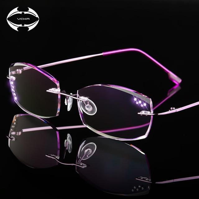 dad3f90ea244 VCKA High Clear Anti Reflective Rhinestone Reading Glasses Women Titanium Eyeglasses  Diamond Cutting Rimless Eyewear