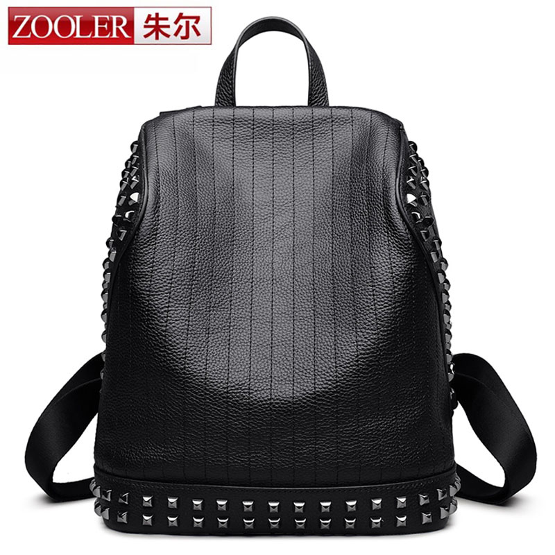 ZOOLER High Quality Genuine Leather Women Backpack for Teenagers Punk Style School Backpack Black Mater Rivet Women Fashion Bag genuine leather backpack women designer bags high quality new rivet casual black school bags for teenagers grils sac a dos