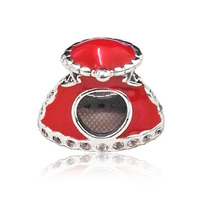 Lovely Red Enamel 925 Sterling Silver Christmas Hat Charm Fitting European Famous Bracelet