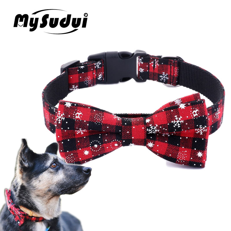 MySudui Dog Collar Christmas Dog Bow Tie Cat Collars Grooming Adjustable Pet Collars Bowknot Pet Necklace For Small Big Dog Cats
