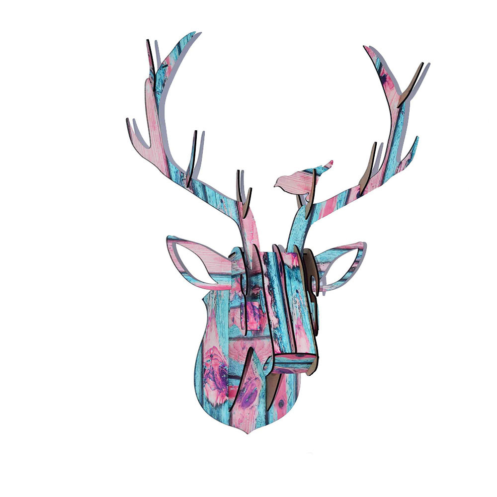 Limit Animal Christmas Reindeer Head Wooden Wall Hanging For Living - Hiasan rumah - Foto 2