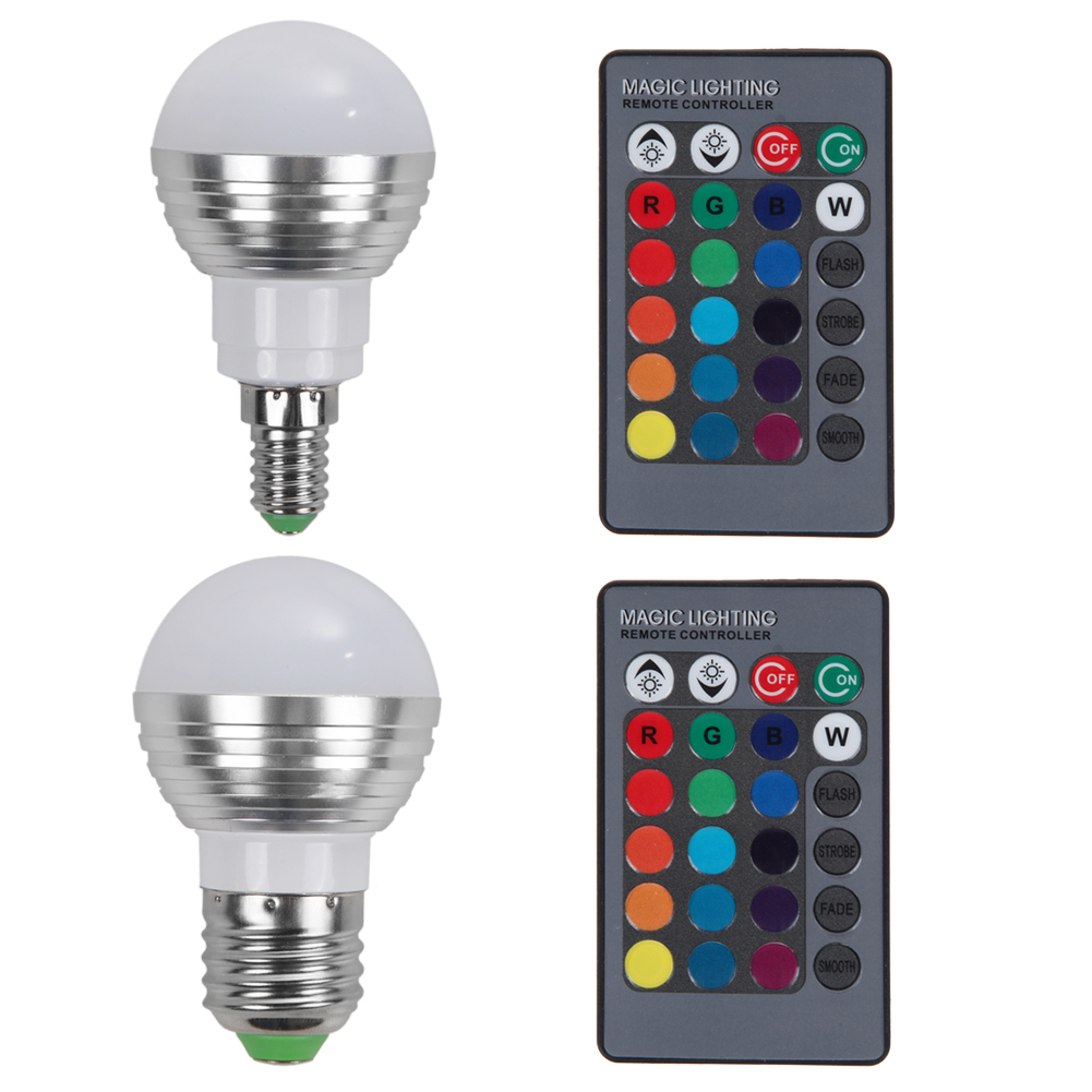 E27 E14 LED RGB Bulb lamp AC110V 220V 5W 16 colors LED RGB Spot light Dimmable Magic Holiday RGB Lighting W/ IR Remote Control