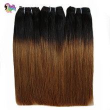 Double Drawn Human Hair Straight Hair Weave Ombre 2 Tone 1b 30 Brzilian Fumi Funmi Straight Human Hair 3 Bundles Remy Extensions(China)