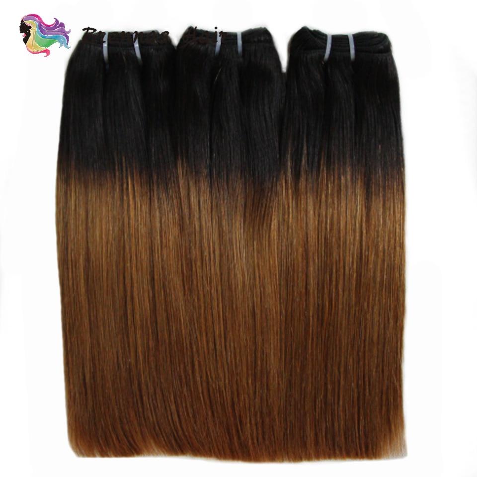 Double Drawn Human Hair Straight Hair Weaves Ombre 1b30 Brazilian Funmi Human Hair Bundles Non Remy Hair Extensions Brennas