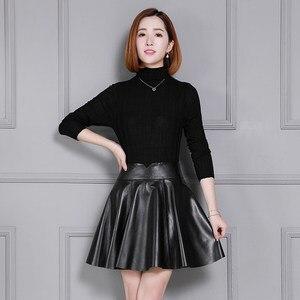 Image 2 - の女性の新しいシープスキンスカートプリーツ革スカート K55