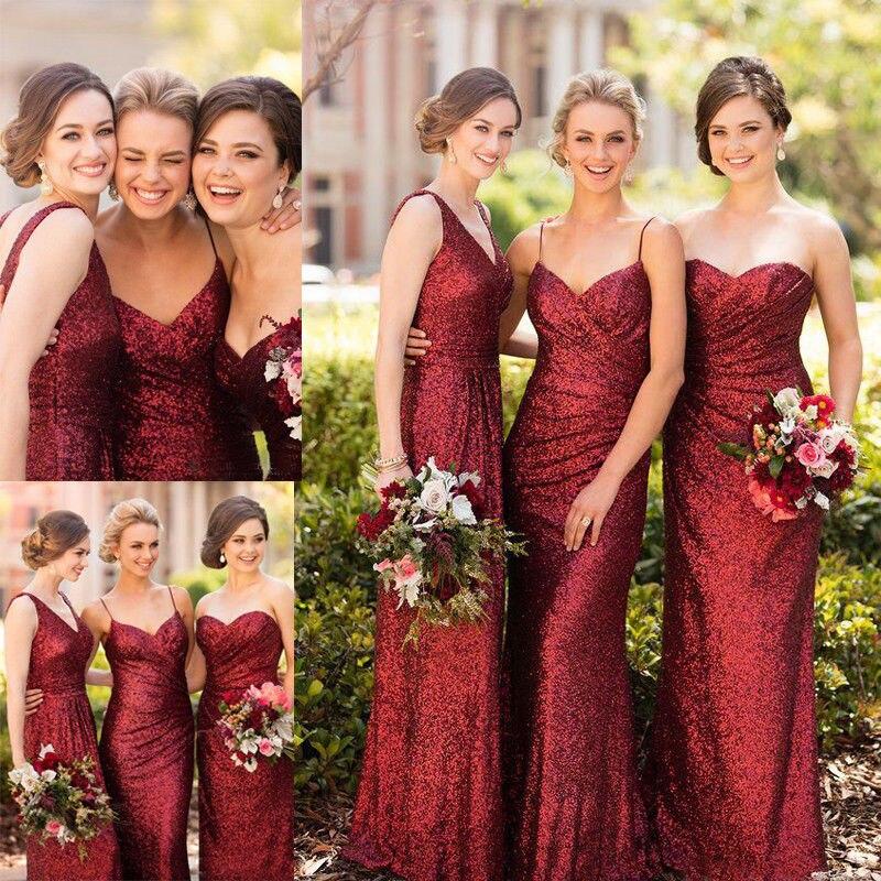 Burgundy Sequins Bridesmaid Dresses Formal Long Party