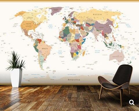 Papel de Parede Mapa do Mundo Político do Vintage Murais para Sala de Estar das Crianças Personalizado Crianças Cores Desenhos Animados Vinil 3d