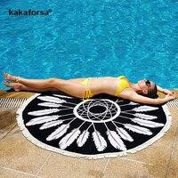 Kakaforsa 2017 Pareo Verão Sarong Envoltório Praia Cover Up Rodada Outono Borla Algodão Esteiras de Praia Sarong Bikini Swimsuit Cover Up
