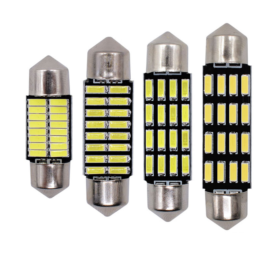 100x Big sales Wholesale Car led festoon 31MM 36MM 39MM 41MM light c5w 16 SMD led 16smd 4014 Auto led bulbs Free shipping
