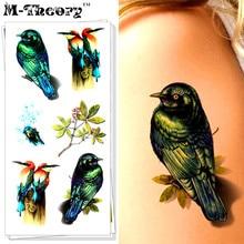M-theory 3D Makeup Temporary Tattoos Body Art Swallow Bird Flash Tatoos Stickers 19x9cm Swimsuit Bikini Makeup Car Styling Tools