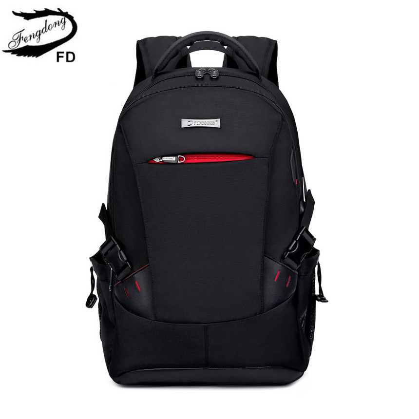 FengDong School Bags For Boys Black Waterproof Laptop Backpack For Men Luggage Travel Bags Anti Theft Backpack Usb Bag Schoolbag