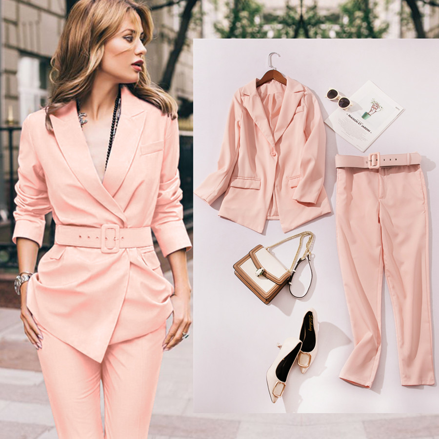 2019 New Fashion Women Pant Suits Long Sleeve Belted Blazer Long Trousers Suit Office Lady Work Wear 2 Pieces Set Women's Set