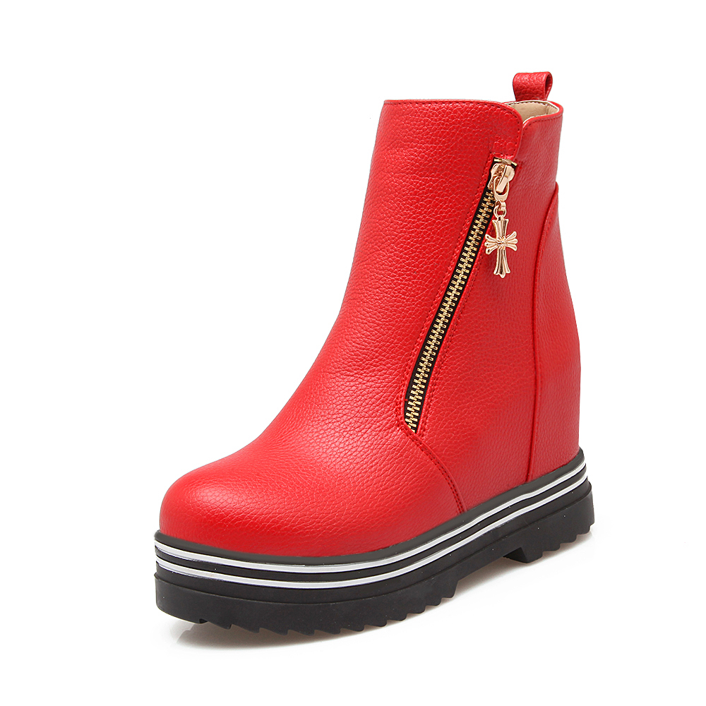 ФОТО New Popular Women Ankle Boots Round Toe Height-increasing Heels Boots High-quality Black White Red Shoes Woman US Size 4-10.5