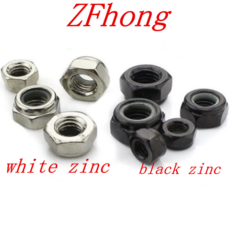 50pcs/20pcs/lot Nylon Lock Nut DIN985 M2 M2.5 M3 M4 M5 M6 Steel With Black OR White Znic
