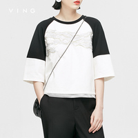 VING Funny T Shirts 2016 Summer Wommen Contrast Color Patchwork Embroidery O Neck Loose T Shirt
