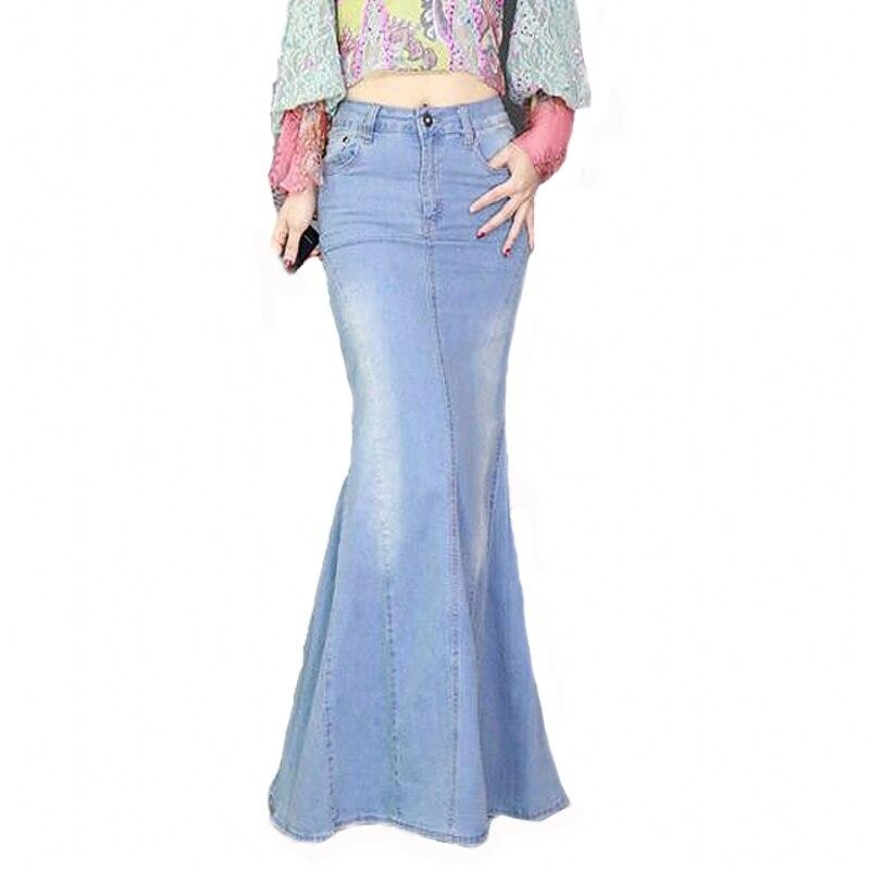 Big Fish Tail Denim Skirt Women Mermaid Stretchy Light Blue Long Skirt Floor-Length Trumpet Empire High Waist Slit Jeans J97397
