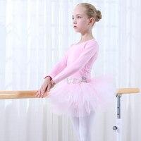 القطن الوردي الباليه تنورة الأطفال مرحلة المهنية طويلة الأكمام الرقص توتو طفل ثياب الباليه الرقص زي للفتيات