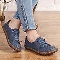 Ladies shoes size handmade flat shoes women round toe lace shoes genuine leather shoes women plus size