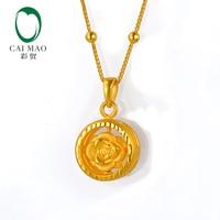 CAIMAO 24 K чистый золотой цветок и сердце с двумя боковыми ПОДВЕСКАМИ КУЛОН классический подарок любовника Настоящее 999 3d Жесткий Золотой проце