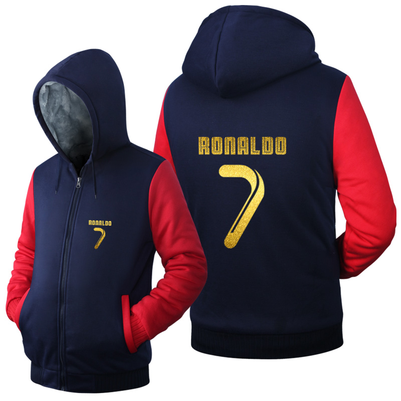 New Arrival Men Hoodies CR7 Cristiano Ronaldo Man's Design 2016 Male Jacket Thicken Fleece Zip up Tops USA size Plus size