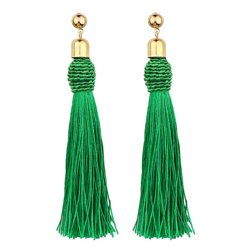 2018 Vintage Ethnic Long Tassel Earrings Women Fashion Brand Jewelry Geometric Alloy Plating Simple Dangle Drop Earrings