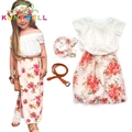 2017 Summer Girls Clothing Set T shirt + dress + scarf 3pcs / set floral collar lace suit children clothes flower Headband D023