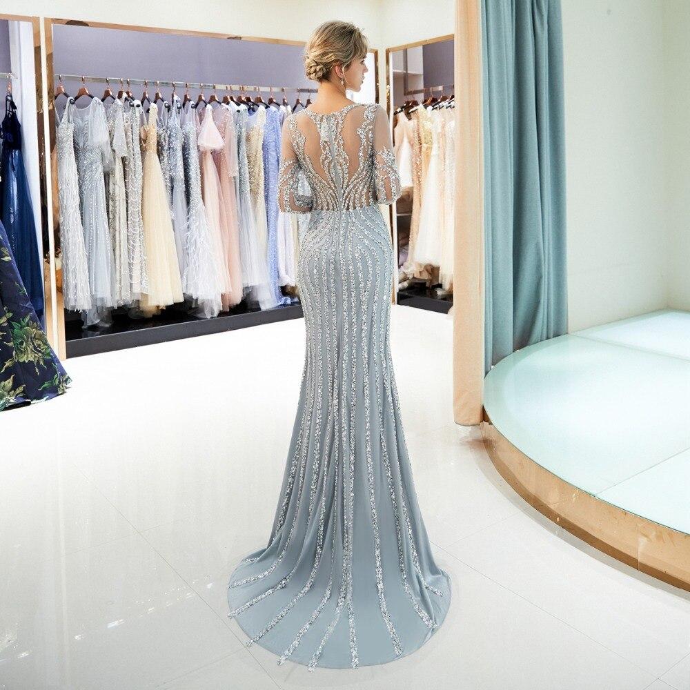 Perlée robes de soirée de luxe gris/Champagne sirène cristal balayage Train manches longues gris transparent cou bal formel robe de soirée - 2