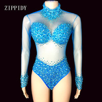 4 Colors Stones Perspective Mesh Bodysuit long Sleeves Sexy Stage Performance Costumes luxurious Rhinestones Leotard