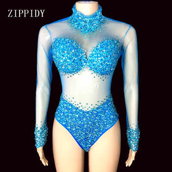4 Colors Stones Perspective Mesh Bodysuit long Sleeves Sexy Stage Performance Costumes luxurious Rhinestones Leotard - DISCOUNT ITEM  15% OFF All Category
