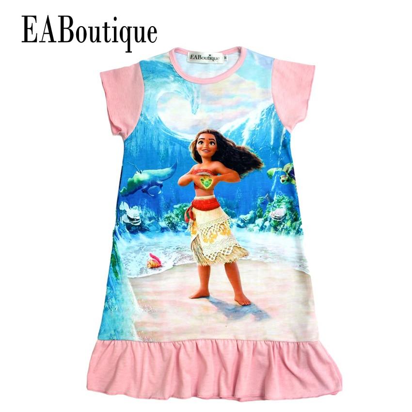 EABoutique summer style 100% cotton 4 Designs children dress Moana princess girl print dress