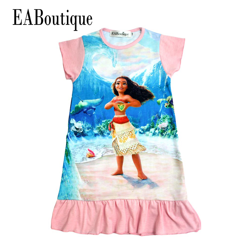 EABoutique summer style 100% cotton 4 Designs children dress Moana princess girl print dress summer special style 100