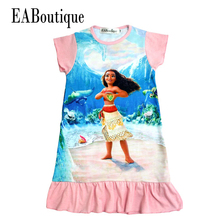 EABoutique summer style 100% cotton 4 Designs children dress Moana princess girl print dress