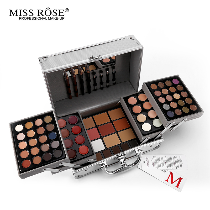 Miss Rose Colour Makeup Suits Artist Professional 3Layers Of Silver Aluminum Box With Brush Mirror Multifunctional Cosmetic Tool