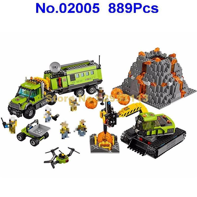 Lepin 02005 889Pcs City Series Volcano Exploration Base Building Blocks Compatible 60124 Brick Toy compatible city lepin 02005 889pcs the volcano exploration base 02005 building blocks policeman educational toys for children