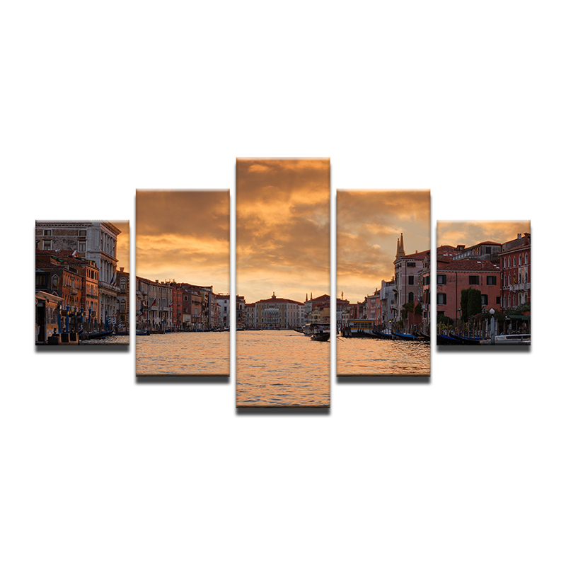 Aliexpress Com Buy 5 Panels Dusk Sunset Boat Printed: Oil Painting Cuadros Nature Landscape Venice Houses City
