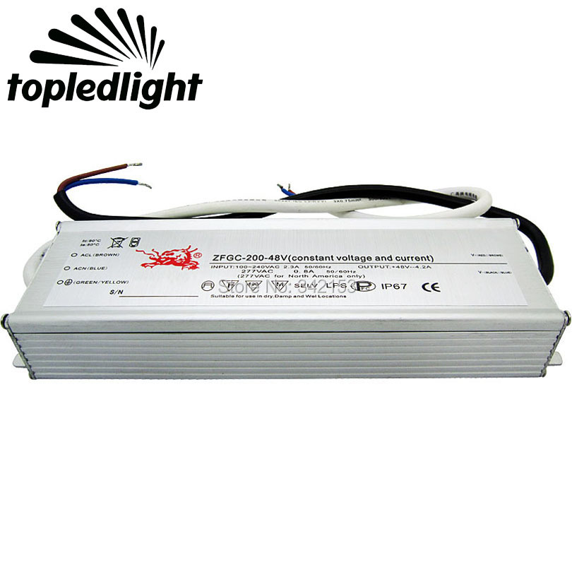 Topledlight IP67 Waterproof 200W High Power Led Driver 48V 4.2A Constant Voltage Current Led Portable Lighting Transformers ip67 waterproof 200w high power led driver 36v 5 5a constant current portable lighting transformers input 100 240vac 2 3a