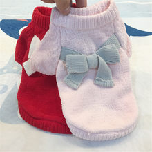 Transer Dog Sweater Creative Wool Pet Clothes Puppy Solid Color Bow-Knot Sweater Cute Autumn And Winter Drop Shipping Aug13 P40(China)