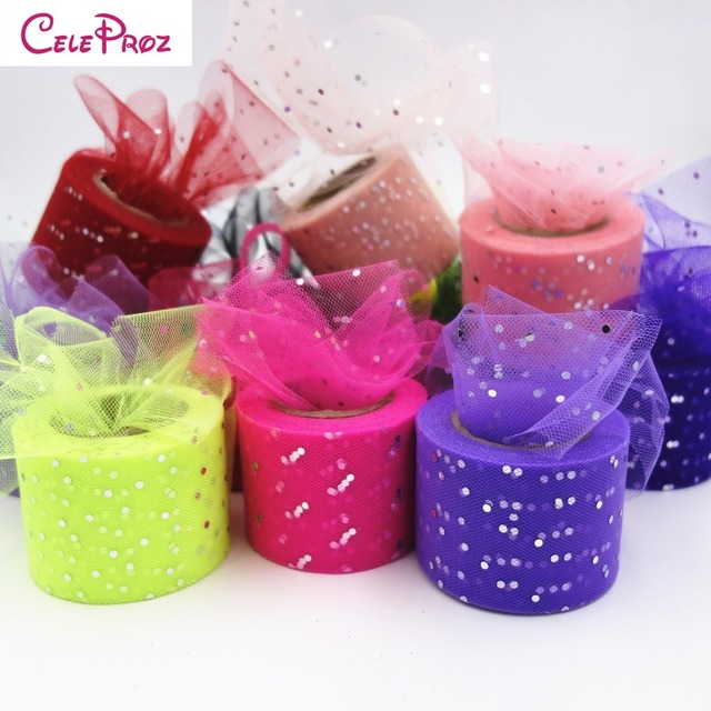 5cm 25Yards Glitter Sequin Tulle Organza Ribbon Roll Giftbox Wrap DIY Clip  Doll Tutu Skirt Poms Wedding Decoration Table Runner d3c2127ce405