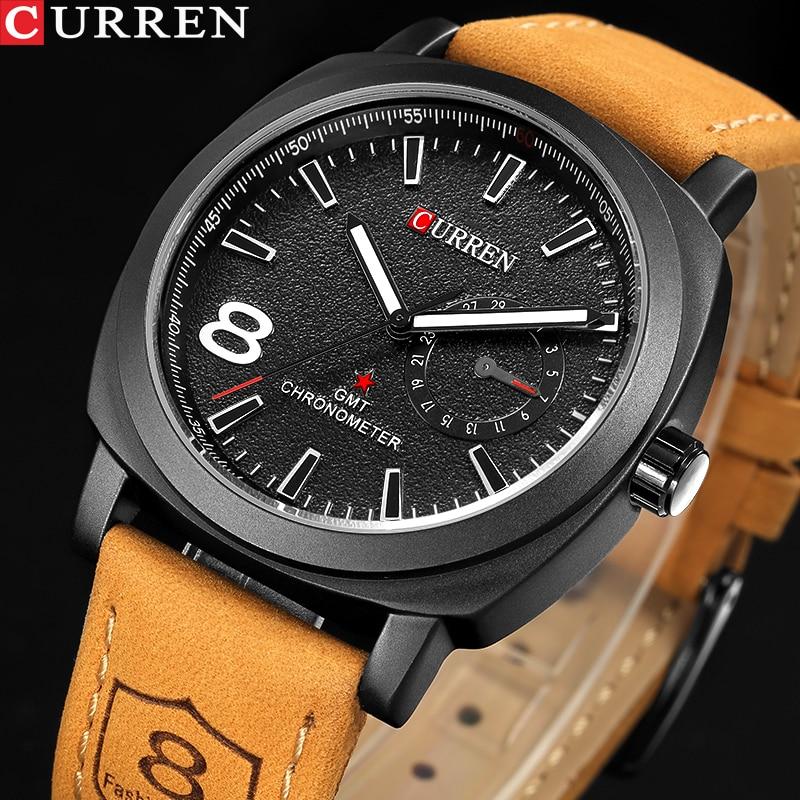 CURREN Casual Mens Watches Top Brand Luxury Men's Quartz Watch Waterproof Sport Military Watches Men Leather Relogio Masculino