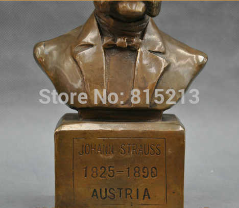 """SCY bi0011715 8 """"Austria Wielki Muzyk Johann Strauss Biust Statua Z Brązu"""
