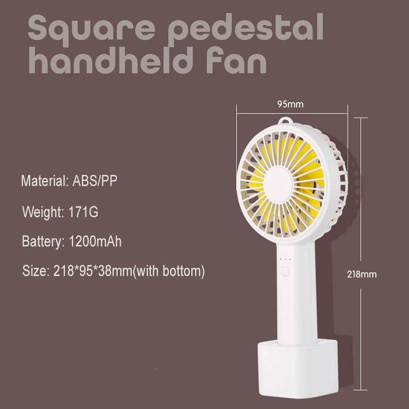 Air Cooling Fan 3 Gear Handheld Fan Table Fan with 1200mAh Battery Air Cooler Mini Ventilator USB Fans Color : Blue