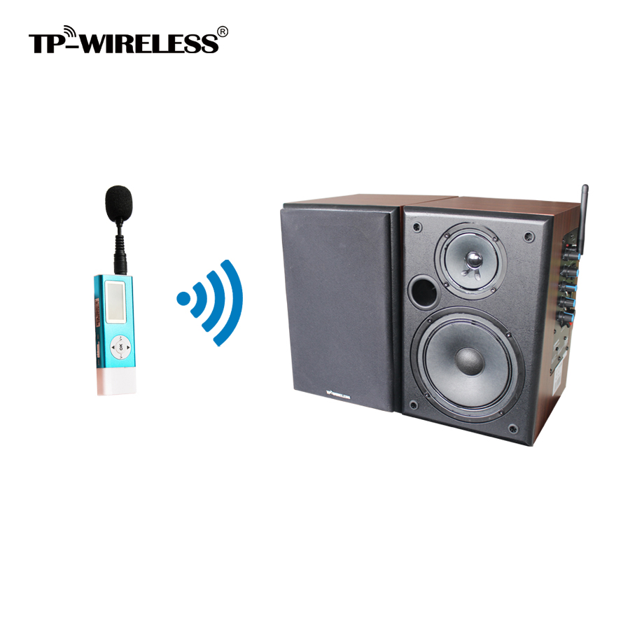 TP-WIRELESS 2.4GHz Wireless Classroom Speaker System Wireless Clip Microphone and Brown Speaker for Church/Conference Room